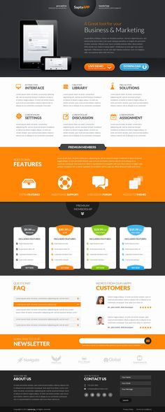 SaptaApp Landing Page Template  #design #webdesign #template #web #graphic #psd #photoshop #website #landingpage #page