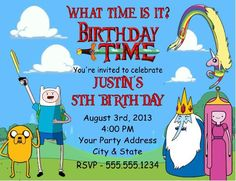 Adventure Time Grey Birthday Invitation Digital File Adventure