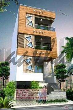Architectural design is a concept that focuses on components or elements of a structure. An architect is generally the one in charge of the architectural design House Outer Design, House Front Design, Modern House Design, Facade Design, Exterior Design, Architecture Design, Narrow House Designs, Residential Building Design, Architectural House Plans