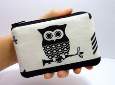 Coin Purse Zipper Pouch Padded  Hootie Owl Black by ZestyNotion, $8.00