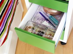 Even a small drawer in your nightstand can be more organized with GODMORGON boxes.