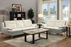 Poundex 2-Pcs Sofa Set F7891Description :Dual hues with a fantastic duo sofa set features a loveseat and 2-seat sofa in white and light grey bonded leather. Brighten up your living room with plush furnishings with pillow-top armrest, accent vertical tufts and short silver flat based leg supports.Materials:White   Grey bonded leatherPine WoodParticle BoardMetal legDimensions:Loveseat : 64