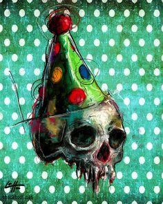 Print 8x10 Birthday Party Skull Skeleton Dark Art by chuckhodi
