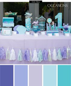 Purple, Mint and Aqua Mermaid Themed Birthday Party - OCCASIONS Minus the Mermaid...this is the color palette