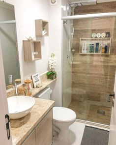Small Bathroom Interior, Small Bathroom Layout, Simple Bathroom Designs, Bathroom Design Luxury, Interior Design Kitchen, Minimalist Small Bathrooms, Bathroom Inspiration, House Design, Sweet