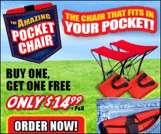 As Seen On TV Pocket Chair - Imagine a chair that fits in your pocket. $14.99 #pocket #chair #seat