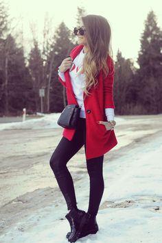 OUTFIT DEL DÍA: Red coat outfit, Look con chaqueta roja