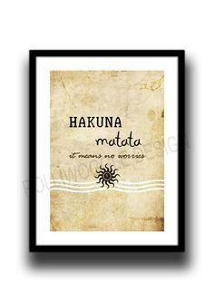 #Hakuna #Matata quote Poster minimalist wall by PolliwoggleDesign
