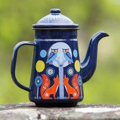 Folklore Woodland Enamel Coffee Pot - cafetieres & coffee pots