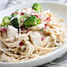 Recipe: Lightened Up Chicken Fettuccine with Broccoli and Bacon