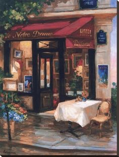 Cafe At Sunrise, Paris Stretched Canvas Print by George Botich at Art.com