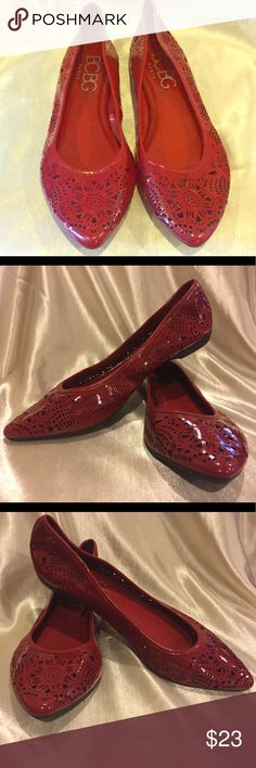 BCBG Paris Red Patent stamped out flats size 7 BCBG Red Patent Leather Flats stamp out EUC Please see pictures for details. This shoe is not lined your skin tone will shine through each design 😀 BCBG Shoes Flats & Loafers
