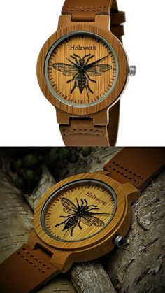 Handmade Wood Germany® Designer Women's Watch Men's Watch Organic Natural Wood Clock Leather Bracelet Clock Save The Trees Analog Quartz Brown with Bee Bees Bee Wildlife Design Limited Edition #ad #bee #bees #wood #handmade #watch