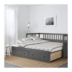 HEMNES Daybed with 2 drawers/2 mattresses, gray stained, Meistervik gray stained/Meistervik 38 1/4x74 3/8