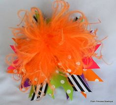Over the top halloween hair bow orange black boutique bow on Etsy, $16.50