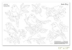 Designer embroidery patterns by Heather Bailey for hand embroidery. Heat transfer artwork can be stamped multiple times for beautiful heirloom results for aprons, tea towels, quilts and clothing. Embroider your linens and gifts. Birds, branches, bird.