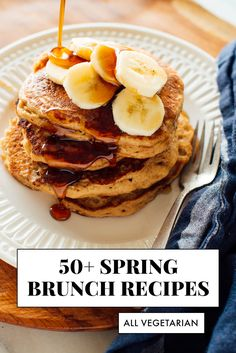 Find 50 vegetarian brunch recipes for springall fresh, healthy and meatless. These recipes would make a delicious vegetarian Easter lunch, too. Vegetarian Brunch Recipes, Healthy Recipes, Breakfast Recipes, Pancake Recipes, Sweet Breakfast, Health Breakfast, Clean Recipes, Breakfast Ideas, Healthy Foods