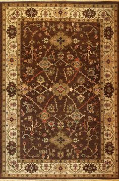 Mahal (chocolate/beige - Kazak design 11) by A Rug For All Reasons    Vibrant colors and subtle abrash (variations) please the contemporary eye while honoring tradition. Handwoven in India of 100% New Zealand wool.