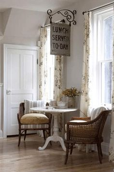 Home theater Sarah Richardson small kitchen table and chairs DIY gold polka dot wall pretty. Sarah Richardson Farmhouse, Sarah Richardson Kitchen, Corner Breakfast Nooks, Cozy Corner, Cozy Nook, Kitchen Sitting Areas, Coffee Nook, House Coffee, Nooks