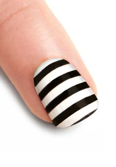 Striped nail decals at Modcloth: http://goo.gl/NyVJV. Via Angry Chicken.