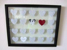 regali fatti a mano, una proposta originale per san valentino, un quadro con all'interno tanti cuori e una foto