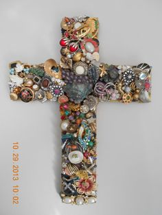 Cross bejeweled with jewelry from vintage to by Crossesinspired, $60.00