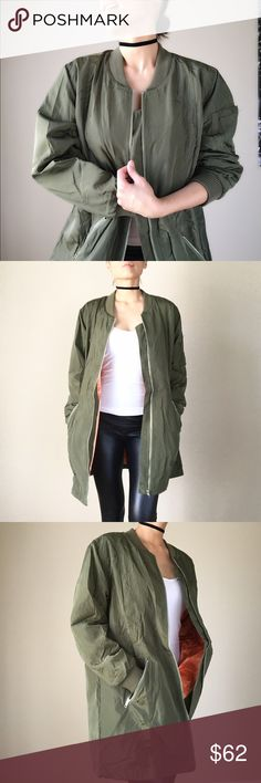 """Long bomber jacket Top quality well made Long bomber jacket with matte silk finish. Zip front, rubbed neck and cuff. Fully lined. Zip pocket front . And two hidden chest pocket. Open slit back bottom. 100%polyblend.  Size S: bust 44"""" length: 32"""" . Size N: Bust: 46, length : 32.5"""". Size L bust 48"""", length 33"""".                                                          Follow me on  INSTAGRAM: @chic_bomb  and FACEBOOK: @thechicbomb CHICBOMB Jackets & Coats Utility Jackets"""