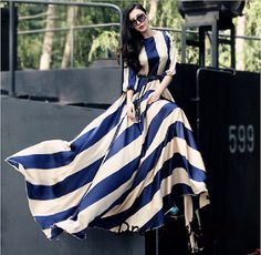 Striped maxi dressNavy and cream striped dress by DressOriginal, $69.90