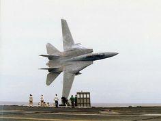 F-14 buzzes USS America (CV-66)