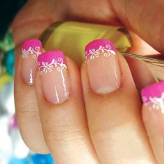 French Manicure with Pink and White Decorated Tips - sweet pink nails art.jpg