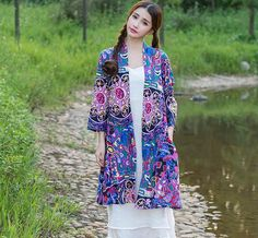 2015 Autumn Vintage Women Slim Ethnic Jacket Long Sleeve Floral Cotton Linen Outwear Red Yellow Blue Waterfall Coats Plus Size