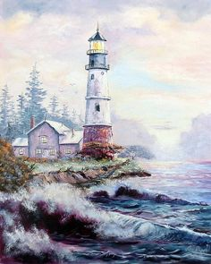 California Lighthouse Art Print by Lee Piper. All prints are professionally printed, packaged, and shipped within 3 - 4 business days. Choose from multiple sizes and hundreds of frame and mat options. Artist Painting, Watercolor Paintings, Watercolors, California Lighthouse, Simple Oil Painting, Lighthouse Painting, Lighthouse Pictures, Beauty In Art, Beginner Painting