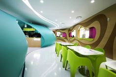 Karim Rashid used eye-catching colours and hypnotic patterns for the revamp of a cafeteria in South Korea.
