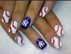 Cute baseball nails! <3 Detroit instead of New York! Baseball Nail Designs, Baseball Nails, Softball Nails, Baseball Boys, Giants Baseball, Baseball Gifts, Baseball Players, Really Cute Nails, Pretty Nails