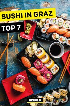 Wo gibt es das beste Sushi in Graz? Wir verraten es dir! Sushi Restaurants, Sushi Bar, Ethnic Recipes, Food, Graz, Japanese Cuisine, Tips, Essen, Yemek