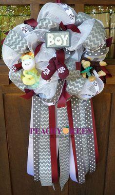 Homecoming Mums, Garters, & Gifts by PeachyKeenMums Hospital Door Hangers, Baby Door Hangers, Baby Boy Wreath, Baby Wreaths, Baby Door Decorations, Homecoming Mums, Welcome Baby, 4th Of July Wreath, Event Planning