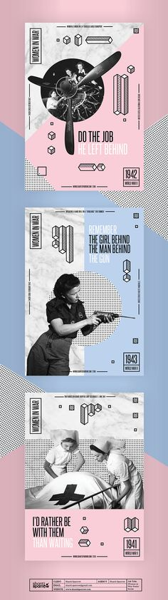 Design by Shanti Sparrow Project Name: Women in War modern propaganda poster www.shantisparrow.com #Design #graphicdesign #collage #women #retro #vintage #blackandwhite #illustration #layout #typography #branding #logo #graphics #identity #graphic #design…