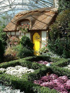 Cottage inside the atrium at the Lewis Ginter Botanical Garden in Richmond, Virginia