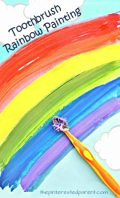 Toothbrush Painted Rainbow Art - A great spring time or St. Patrick's Day project for the kids. Arts and crafts for preschoolers and kids