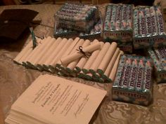 Graduation favors: Thank you notes rolled up around mentos candy. Graduation favors: Thank you notes rolled up around mentos candy. The post Graduation favors: Thank you notes rolled up around mentos candy. appeared first on Jody Harris. Graduation Crafts, Graduation Party Foods, Graduation Open Houses, Graduation Party Planning, College Graduation Parties, Graduation Celebration, Graduation Decorations, Grad Parties, Graduation Ideas