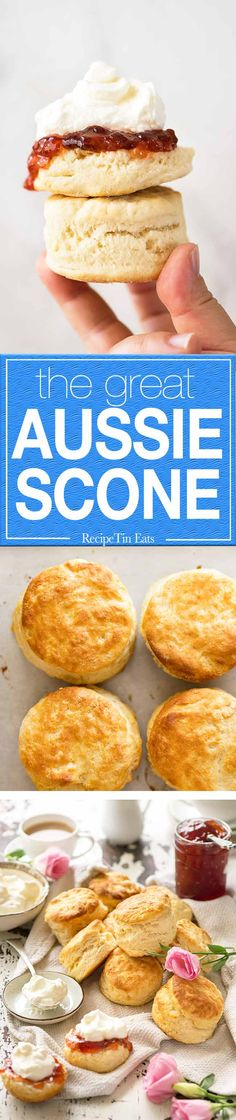 Really easy, classic plain scones you'll make again and again. 3 ingredients, and in the oven in under 10 minutes! Soft and fluffy inside, serve with copious amounts of jam and cream for the ultimate classic afternoon experience.