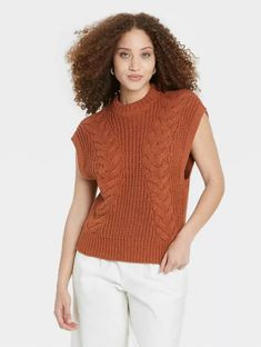 The sweater vest is having a moment this season, and we love seeing all the different styles. This oversized sweater vest would look great on its own for work or thrown over a button-down blouse for a cozy, layered look. #fallfashion #falloutfits #fallsweaters #cutesweaters #southernliving Cozy Fashion, Cable Knit Sweaters, New Day, Fitness Fashion, Snug Fit, Crew Neck, Vest, Casual, Target