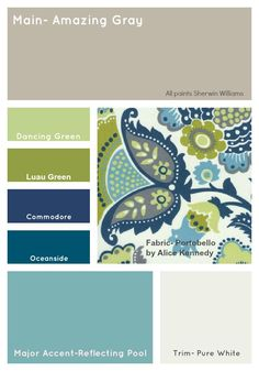 I love these beautiful blue green paint color schemes.  The cream white provides a natural accent color that ties it all together.  This is a cool color home decor paint scheme.   Color scheme for my living room