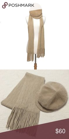 """❤️ Cozy Sandy Beige Scarf and Angora Beret The scarf is approximately 70"""" x 7"""" it was maybe worn once or twice. The hat has never been worn. It's a super soft angora blend.  ❌ Sorry, no trades. Accessories Scarves & Wraps"""