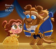 Belle and The Beast CHIBI - walt-disney-characters Fan Art