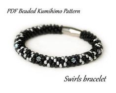 PDF Beaded Kumihimo Pattern - Swirls Kumihimo bracelet – bead layout instruction tutorial