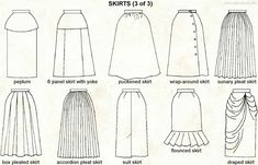 While ideas-searching on google for skirt designs, I came across this comprehensive summary of various skirt shapes. It has almost every basic designs you can think of! Now I have a set of skirt-op...