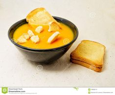 Photo about Delicious pumpkin pured soup with potatoes and zwiebacks bread slices. for vegetarian, vegan and healthy concept. Image of tasty, autumn, potatoes - 109082141