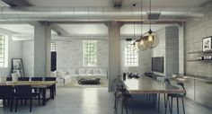 Sophisticated Industrial House Design with the Amazing Idea: Charming Modern Industrial Loft Interior Design ~ annidesign.com Contemporary Home Design Inspiration