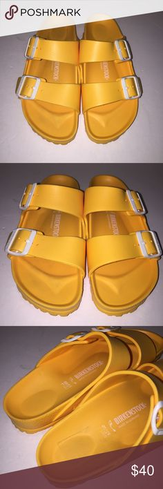 Birkenstock Orange Essentials Arizona Sandal 7/38 Essential style which is lightweight Waterproof like crocs , Gently worn before , im sorry there is no box ... I do not trade but offers are welcome.. don't forget to share my item and like it for future notifications of possible price markdowns thanks ! Birkenstock Shoes Sandals